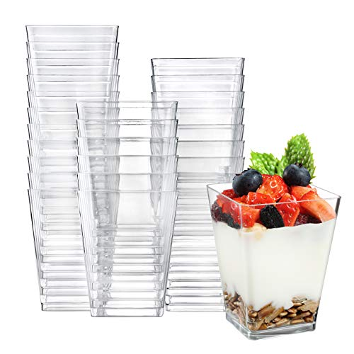 Eupako 50 Pack 5 oz Square Clear Plastic Dessert Cups Small Clear Plastic Tumbler Cups Great for Desserts Appetizers Puddings Mousse and More