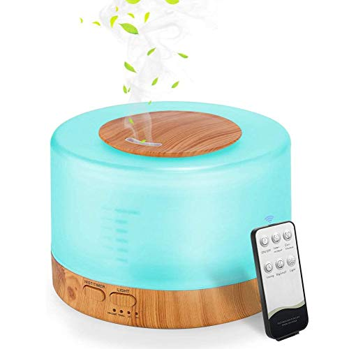 Szkh Difusor Aceites Esenciales 500 ml,Difusor de Aromas Ultrasónico Eléctrico con Iluminación de Colores para Cromoterapia Aromaterapia Humidificador Ambiente Oficina Casa