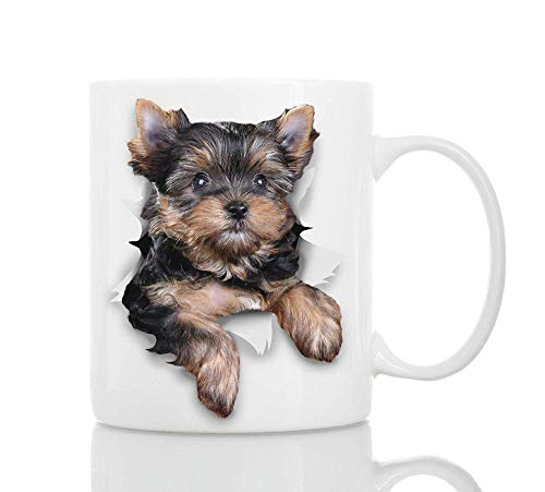 Cute Yorkshire Terrier Dog Cup Cerámica Fun Coffee Cup 11Oz Perfect Dog Lover Gift Cute Novedad Taza De Café Glee (301-400ml)