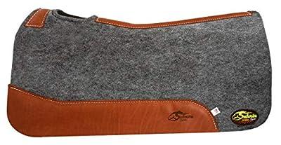 "Southwestern Equine Silverado 1"" Grey Contoured Saddle Pad 100% Wool"