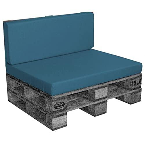 Cojín / colchón exterior para paleta [EUR] de fibra comprimida, desenfundable, impermeable, azul pato, 120 x 80 x 10 cm, 100% poliéster [confort óptimo]