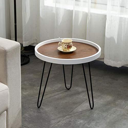Mesa de Centro Mesa Auxiliar Mesa Centro Pequeña mesa de centro redonda de madera maciza, mesa de sofá de almacenamiento simple de hierro forjado, mesa de lectura del dormitorio de la sala de estar Me