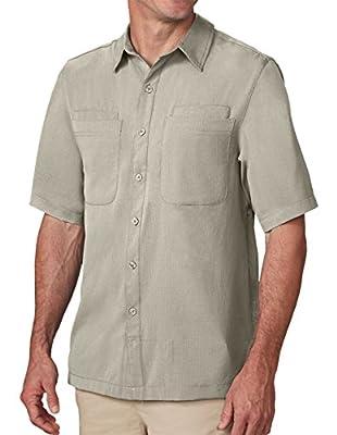 SCOTTeVEST Beachcomber Button Down Shirt - Mens Shirts for Travel or Hiking (KHA, L) Khaki