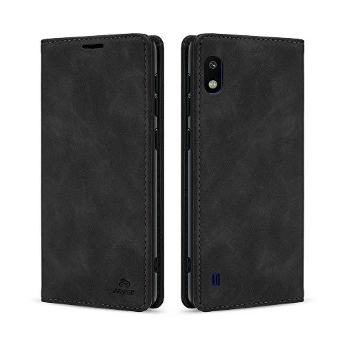 AFARER A10 hülle,Galaxy A10 hülle,Handyhülle mit Einfache Art Tasche Lederhülle Flip Hülle Brieftasche Handy hülle für Samsung Galaxy A10 - Schwarz