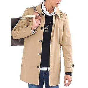 (スペイド) SPADE トレンチコート ステンカラーコート メンズ コート チェスターコート ロング 【e297】 (L, ベージュ)