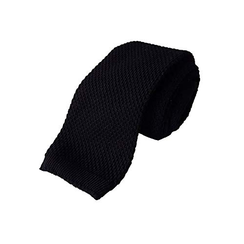 Hugo Boss Tie Black Slim Knitted Style 100% Cotton One Size