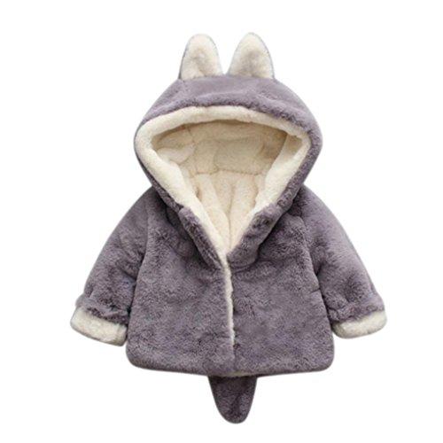 URSING_Babykleidung URSING Baby Säugling Mädchen Jungen Herbst Winter Warm Kapuzenmantel Mantel Jacke niedlich Ohr Schwanz Übergangsmantel Künstliches Pelz Dicke Kleidung (Grau, 6M)