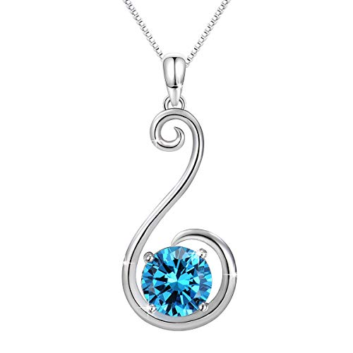 Conmisun Jewelry for Women Necklace 925 Sterling Silver Swan Series Pendant Necklace Blue Cubic Zircon, Christmas Gifts, Elegant Jewellery Box, Allergen-free, 18'