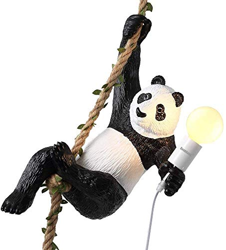 Office kroonluchter Creative Chandelier hanglampen Panda Resin Animal Light Antique Klassieke Edison lampenkap Ajustable DIY E27 Retro Pendant Eetkamer Slaapkamer Hotel Onderzoek kamer kroonluchter