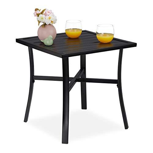 Relaxdays Gartentisch quadratisch, für Garten, Balkon & Terrasse, Anti-Rost-Beschichtung, Stahl, BxT: 46x46 cm, schwarz