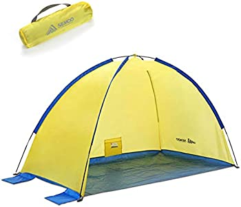 Anti-UV Sunshade Tent with Carrying Bag, Stakes & 4 Sand Pockets