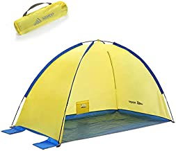 SEMOO Beach Tent Beach Sun Shelter Anti-UV Portable Sunshade Tent with Carrying Bag, Tent Stakes, 4Sand Pockets for Outdoor Activities Beach Traveling Family Adults.