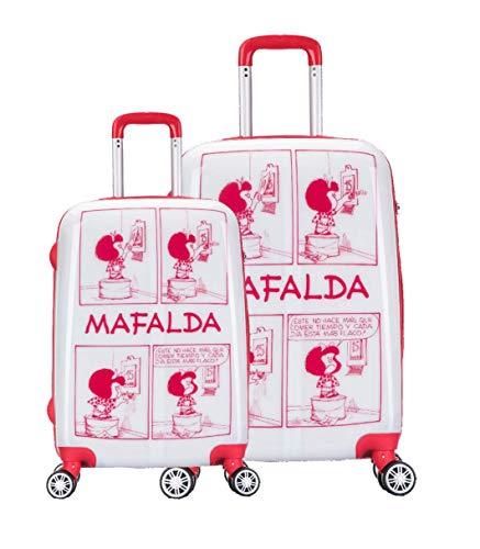 Set de Dos Maletas Mafalda Comic, policarbonato, Maleta de Cabina y Maleta Mediana