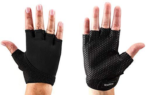 ToeSox Grip Gloves for Pilates, Yoga, Dance and Cross Training (Black) Medium