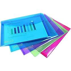 Rapesco - Pack 5 unidades carpeta portafolios A4, colores variados + 5 unidades carpeta plastica A5, colores variados: Amazon.es: Oficina y papelería