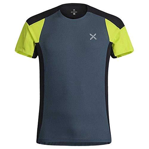MONTURA Maglia Girocollo Trattamento Quickdry Outdoor Trail 2 t-Shirt (Blu Cenere/Verde Lime, XXL)
