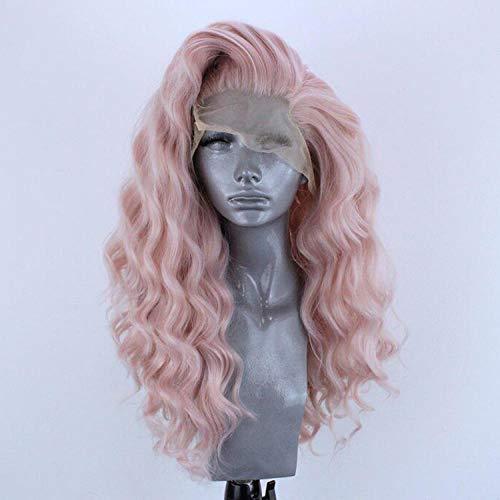 26 pouces de long ondulé en couches rose chaleur sûre cheveux synthétiques avant de lacet perruques décent espace de séparation perruque transparente -26_inches_blue