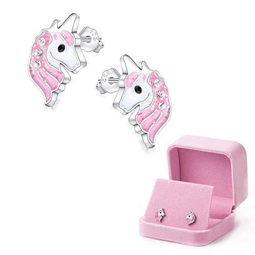 Borchia unicorno Orecchini Sparkling rosa chiaro per i bambini delle bambine Gioielli Regali di Natale per feste di compleanno con confezione regalo in velluto (Orecchini)