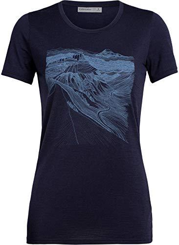 Icebreaker Tech Lite PCT Sketchbook T-Shirt Col Ras-du-Cou Bas Femme, Midnight Navy Modèle S 2020 T-Shirt Manches Courtes