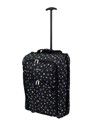 21' / 55cm Airline Cabin Size Hand Luggage Carry On Cabin Bag Holdall Trolley - Ryanair (Black/Star)