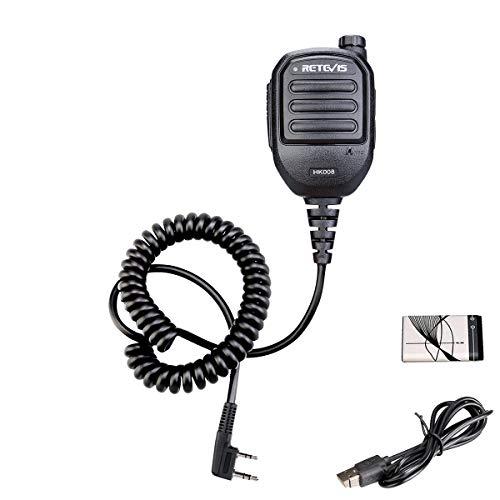 Retevis HK008 Walkie Talkie Micrófono de Altavoz de Mano Kenwood de 2 Pines 890 mAh Compatible con Baofeng UV-5R RT24 RT22 RT5R RT27 eSynic UV-5R Mengshen BF-888S Kenwood (Negro, 1 Pieza)