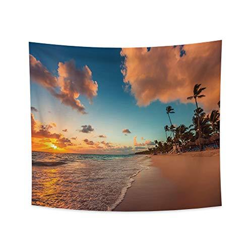 Miueapera Tapiz de puesta de sol Tapiz de mar Tapiz de palma Tapiz de playa de la costa Tapiz de orilla de mar Tapiz tropical Sala de estar Dormitorio Dormitorio Decoración del hogar 86x70cm