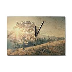 Lantern Press Autumn Tree and Sunbeam Landscape Photography A-91548 (10x15 Wood Wall Clock, Decor Ready to Hang)