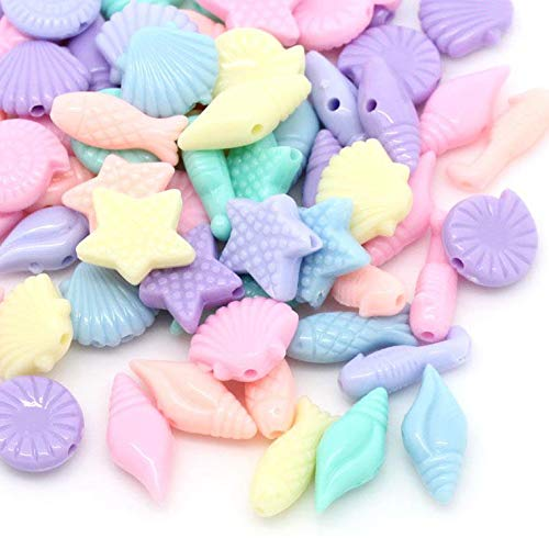 600 Pastel Acrylic Seashell and Fish Shapes Beads Assorted Pastel Colors 17 x 8mm or 7/16 x 3/8 Inch Diameter with 1.5mm Hole