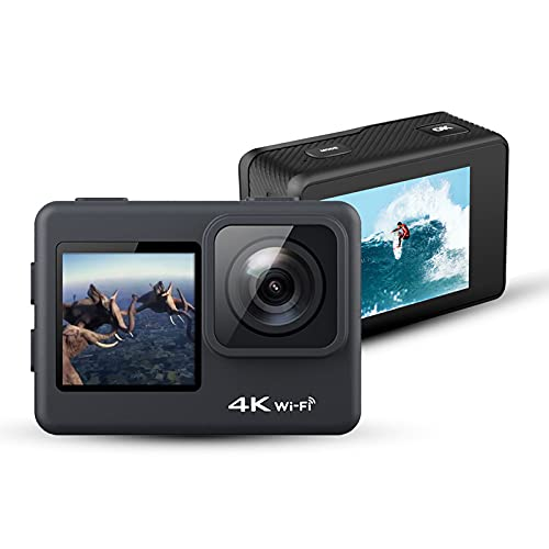 Cámara Deportiva Impermeable al Aire Libre HD 4K, cámara Digital de Pantalla táctil WiFi inalámbrica, cámara a Prueba de Agua de 98 pies de Gran Angular de 170 Grado Black