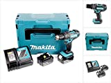 Makita DHP482RTJ Perceuse visseuse à percussion + 2 batteries 18V 5Ah Li-ion + coffret Makpac, Bleu