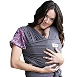 Sleepy Wrap Baby Carrier, Dark Grey Stretchy Ergo Sling from Newborns to 35lbs