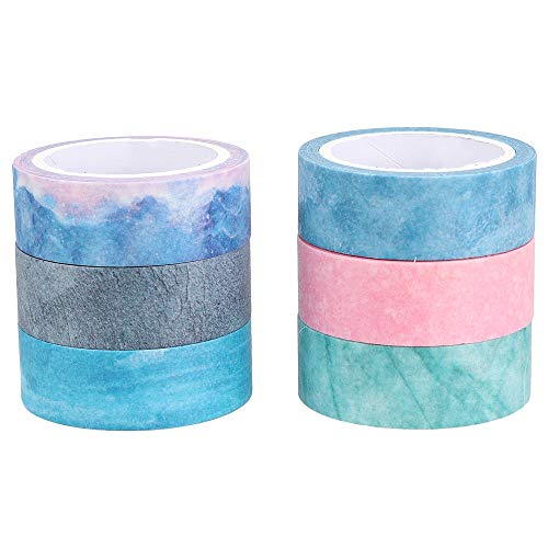 """Molshine Set of 6 (7.6yd/roll) Natural Color Washi Masking Tape,Crafts Tape,Adhesive Tape for Planner DIY,Bullet Journal Decoration,Gift Wrapping,Scrapbook,Nordic(Width:5/8"""")"""