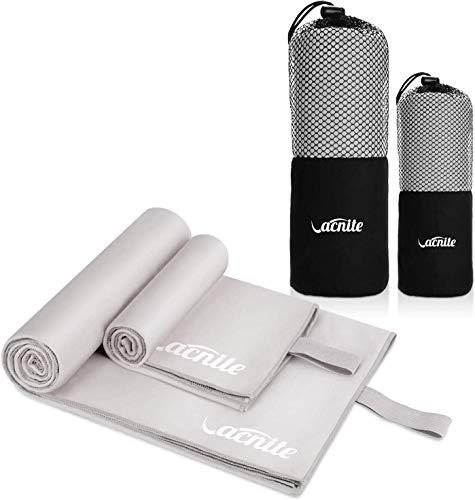 VACNITE 2 Piezas Toalla de Microfibra Deportiva, Secado Rápido Toalla para Viajes Deportes Natación Yoga (GIRS)