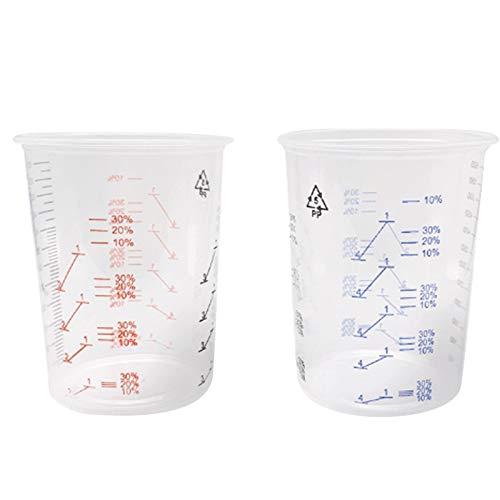 Yebobo 25 Vasos de Mezcla de Pintura PláStica Recipiente de Mezcla de 600 Ml para una Mezcla Precisa de Pintura y LíQuido (Color Aleatorio)