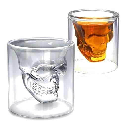 zanasta (2 Stück) Totenkopf Glas (75ml) Schädel Trinkglas Whisky Vodka oder Schnaps Gläser Mittel