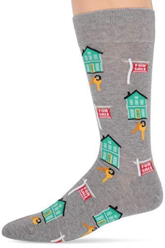 Hot Sox Men's Novelty Occupation Casual Crew Socks, Realtor (Grey Heather), Shoe Size: 6-12