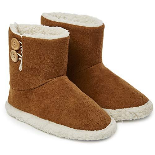 Dunlop Zapatillas Casa Mujer | Zapatillas Calienta Pies Invierno Cerradas | Pantuflas de Casa Regalo para Mujer | Botas Altas Forradas de Borreguito Suela de Goma Dura (38 EU, Marrón)