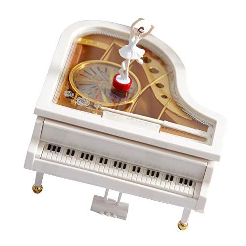 YaptheS Piano Music Box Klassische Art Mechanische Ballerina-Mädchen-Tanzen auf dem Klavier für Kinder Geburtstags-Geschenk Weiß
