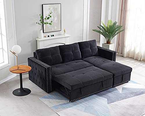 Couch with Pull Out Bed, Sleeper Sectional L Shaped Velvet Sofa with Storage, with 2 Seats Sofa and Reversible Chaise, for Living Room Furniture Set (Black)
