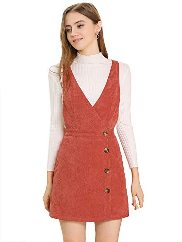 Allegra K Vestido De Peto con Pechera De Pana Cuello V Vestido Acampanado Mini Vintage para Mujer Naranja L