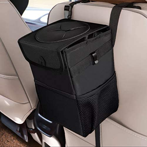 JOM Car Trash Can with Lid with Hanging Storage Pockets Collapsible Water and Leak Proof Portable product image