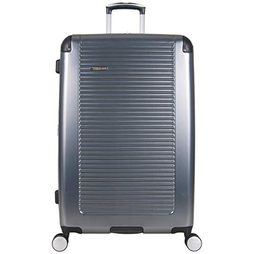 Ben Sherman Norwich Collection Lightweight Hardside PET Expandable 8-Wheel Spinner Luggage, Gunmetal, 28-Inch Checked