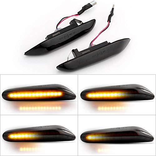 DEFVNSY LED Indicatore di direzione dinamico Indicatore di direzione Luce lampeggiante sequenziale, con CAN-bus senza errori per E90 E91 E92 E93 E81 E82 E87 E88 E83 E84 E60 E61 (ambra, 1 paio)