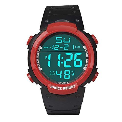 Lujo de la Marca for Hombre del Reloj de los Deportes de Buceo 50m Digital LED Militar Reloj de los Hombres Ocasionales de la Manera Reloj Reloj Caliente Electrónica (Color : Rojo)