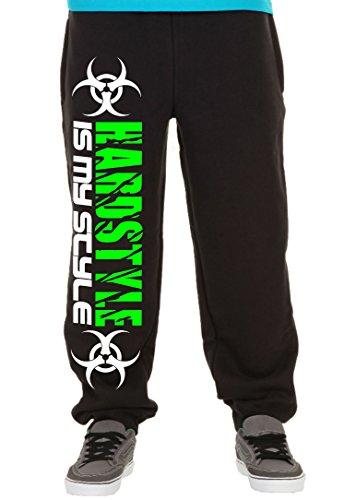 Hardstyle is My Style Männer und Herren Jogginghose | Hardcore Musik Techno Gabber Geschenk | M2 (Schwarz-Druck Neongrün, L)