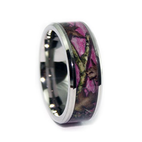 #1 Camo Bevel Titanium Pink Ring - Pink Camouflage Bands - Pink Camo Wedding Engagement Rings - Ring Size 7