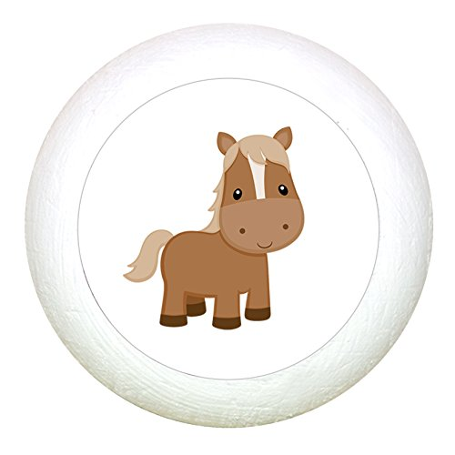 """Möbelknauf""""Pferd"""" weiss Holz Kinder Kinderzimmer 1 Stück Bauernhoftiere Traum Kind"""