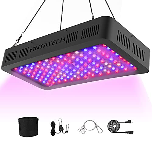 YINTATECH 1500W Watt LED Grow Light Full Spectrum Growing Lamp for Indoor Hydroponic Greenhouse Plants Veg and Flower with Double Switch, Daisy Chain, Adjustable Rope Hanger, Hygrometer Thermometer