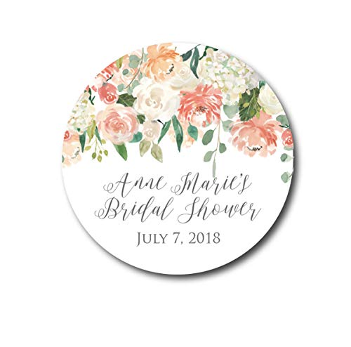 DKISEE 3 PCs Bridal Shower Stickers Shower Favors Shower Stickers Shower Labels Peach Blush Flower Stickers Floral Labels Thank You Stickers Wedding Tag 4 inches