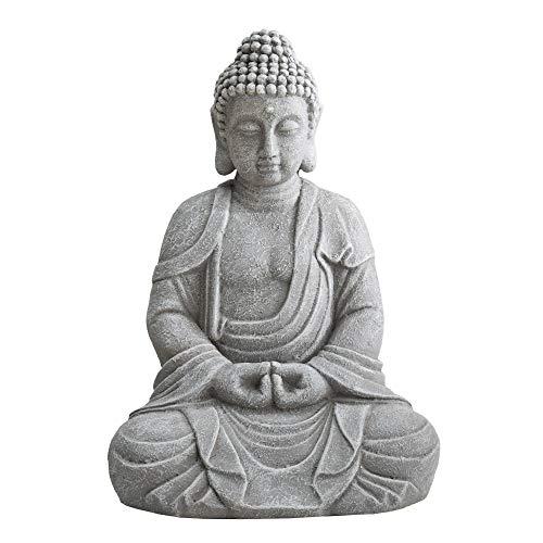 Sunjoy D101012900 Rowan Gray Buddha Garden Decor Statue